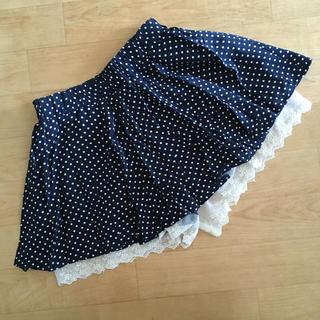 シマムラ(しまむら)の女児 used  インナーパンツ付きスカート 紺地に白ドット模様(スカート)