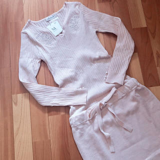 PROPORTION BODY DRESSING - MISCH MASCH 刺繍リブ ニットワンピース ピンク サイズ2