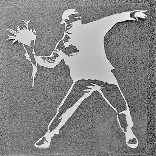 バンクシー カッティングステッカー「Flower Bomber」シルバー