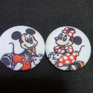 ディズニー(Disney)のくるみボタン ミッキーマウス&ミニーマウス ハンドメイド(各種パーツ)