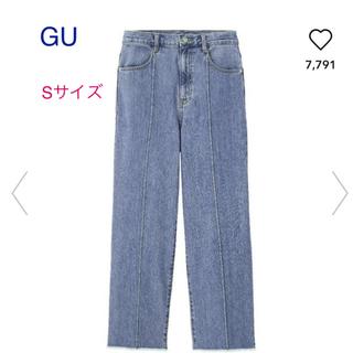 GU - 新品 ジーユー   カットオフワイドジーンズ Sサイズ