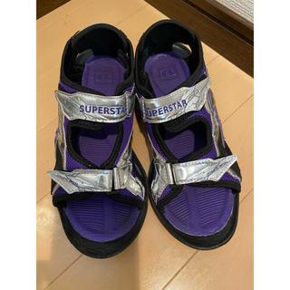 ムーンスター(MOONSTAR )のSUPERSTARスーパースター サンダル 23cm 紫シルバー ムーンスター(サンダル)