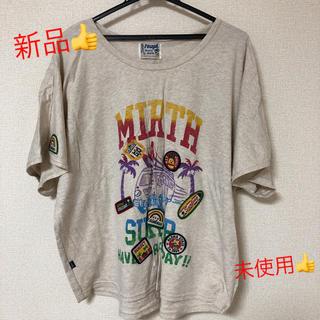 ラフ(rough)の新品★ 未使用★ rough ワッペンTシャツ バックプリントもかわいい M(Tシャツ(半袖/袖なし))