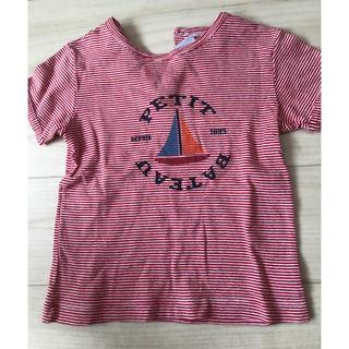 PETIT BATEAU - プチバトー   カットソー Tシャツ 半袖 ストライプ コットン レッド