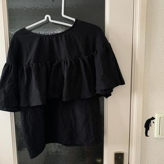ケービーエフ(KBF)の【KBF】黒 フリルトップス(シャツ/ブラウス(半袖/袖なし))