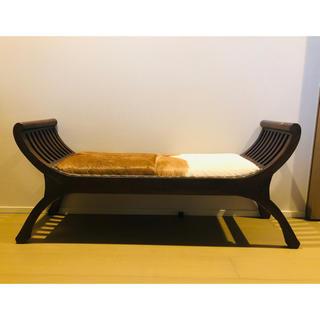 【Hiro®️on様専用】バリ製カルティニベンチハラコxチーク材 2人掛けベンチ(二人掛けソファ)