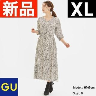 GU - フラワープリントVネックワンピース(7分袖) GU ジーユー ナチュラル XL
