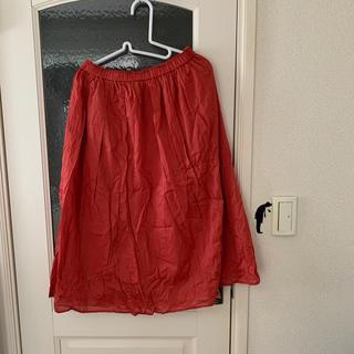 ユニクロ(UNIQLO)の【ユニクロ】赤 リネンスカート(ロングスカート)