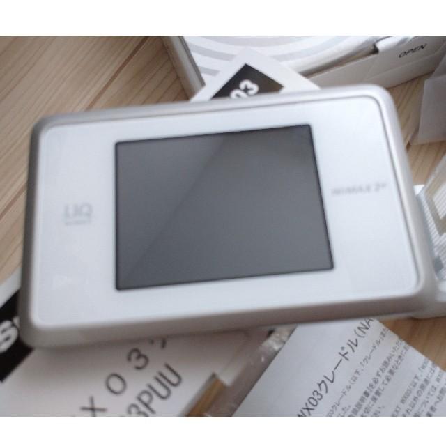 NEC(エヌイーシー)のSpeed Wi-Fi NEXT WX03 ホワイト😃 クレードルも😀 スマホ/家電/カメラのPC/タブレット(PC周辺機器)の商品写真