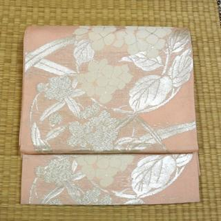 夏用 ピンク地に銀糸の草花 袋帯(帯)