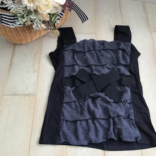 エムズグレイシー(M'S GRACY)のエムズグレイシー  ノースリー フリル&リボン 38サイズ  (Tシャツ(半袖/袖なし))