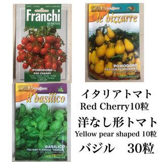 洋なし形トマト、イタリアンミニトマト、バジルの種(野菜)