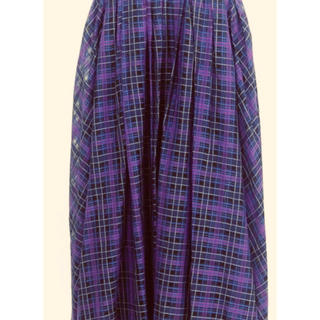 Drawer - Drawer チェック スカート  パープル ネイビー サイズ36
