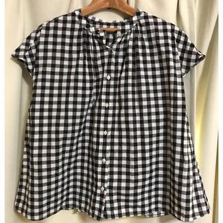 MUJI (無印良品) - 無印良品 MUJI チェック柄フレンチ袖シャツ