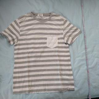ウーム(WOmB)の白グレー ボーダーシャツ 胸ポケット付き(Tシャツ/カットソー(半袖/袖なし))