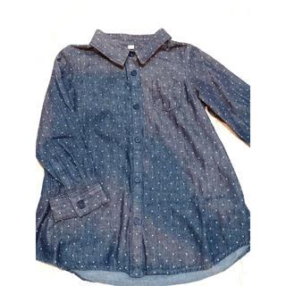 ムジルシリョウヒン(MUJI (無印良品))の無印良品 MUJIキッズデニムシャツワンピース 110cm(Tシャツ/カットソー)