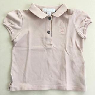 BURBERRY - バーバリー ポロシャツ 12m 80 ピンク パフスリーブ ベビー 美品
