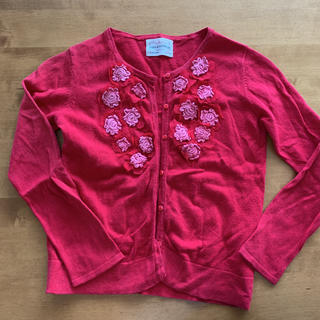 ザラ(ZARA)のZARA ザラガール カーディガン 赤 花付き 128サイズ(カーディガン)