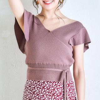 MERCURYDUO - マーキュリーデュオ♡今季 カシュクールラッフルコンパクトニット ブラウン♡