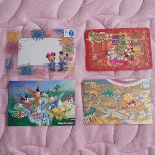 ディズニー(Disney)のディズニーランド ポストカード3枚+オマケ1枚(使用済み切手/官製はがき)