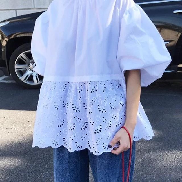 dholic(ディーホリック)のポワン袖 パンチングブラウス * レディースのトップス(シャツ/ブラウス(半袖/袖なし))の商品写真