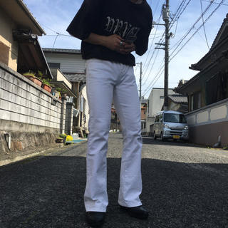 JOHN LAWRENCE SULLIVAN - white flare denim pants ホワイトフレアデニムパンツ