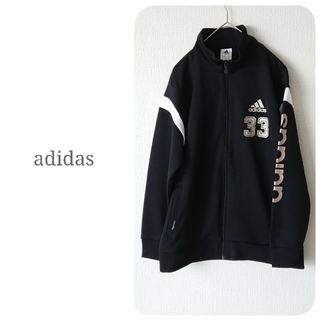 adidas - アディダス❥スポーツウエア メッシュ ビッグロゴ ジャージ ブラック