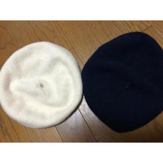 ジーユー(GU)のベレー帽 ネイビー ホワイト セット ジーユー(ハンチング/ベレー帽)