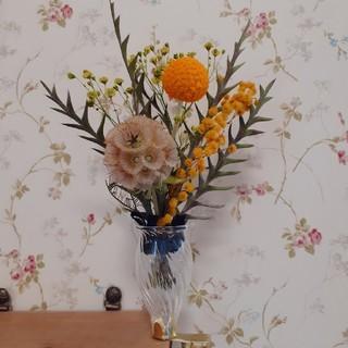 *.小さなフラワーベース&ミモザの花束セット.* 送料込♪スワッグ紐つけれます♪(ドライフラワー)