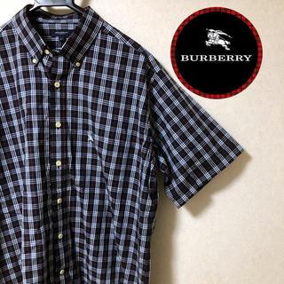 バーバリー(BURBERRY)の【美品】BURBERRYバーバリー★★紺ノバチェックシャツ★Lサイズ(シャツ)