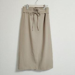 シマムラ(しまむら)の新品* しまむら レースアップベージュスカート ひざ丈スカート M(ひざ丈スカート)
