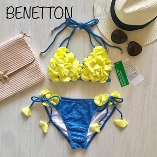 ベネトン(BENETTON)の新品 水着 ベネトン 3D フラワー コサージュ ビキニ YL M レディース(水着)