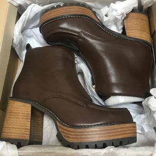 ジーナシス(JEANASIS)の【完全未使用】ジーナシス ジップデザインヒールブーツ ブーツ L(ブーツ)