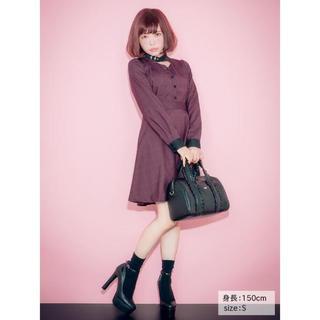 EATME - 【売り切れ商品】EATME ネックベルテッドワンピース 黒系×赤系