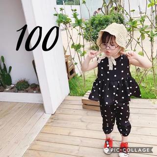 petit main - 即納◆ 韓国子供服 ドット セットアップ 100 チュニック パンツ 夏服