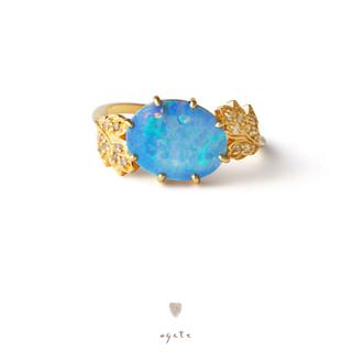 アガット(agete)の【期間限定出品】新品♡agete♡K18リング♡ダブレットオパール♡ダイヤモンド(リング(指輪))
