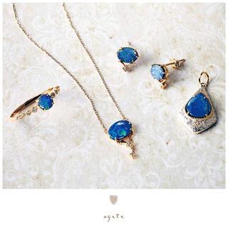agete - 【5月末迄】新品♡agete♡K10ネックレス♡ダブレットオパール♡即完売品