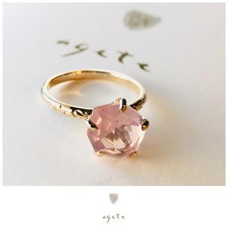アガット(agete)のagete♡K10リング♡ラフカットローズクォーツ♡アガット(リング(指輪))