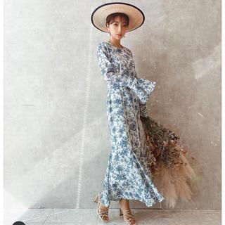 eimy istoire - 新品 eimy Amanda flower マーメイド ワンピース ブルー 花柄