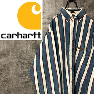carhartt - 【激レア】カーハート☆レザーロゴ入りマルチストライプヒッコリーシャツ 90s