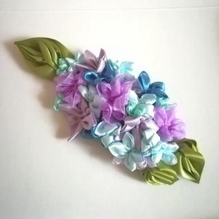 ラッピング無料☆紫陽花のヘアクリップ バレッタ ドレスアップ リボンフラワー(ヘアアクセサリー)