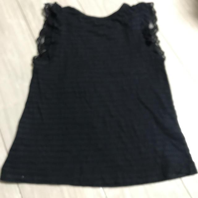 mezzo piano(メゾピアノ)のメゾピアノ黒タンクトップ130㎝ キッズ/ベビー/マタニティのキッズ服女の子用(90cm~)(Tシャツ/カットソー)の商品写真