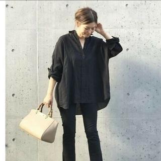 DEUXIEME CLASSE - 美品 Deuxieme class WIDE LINENシャツ ブラック