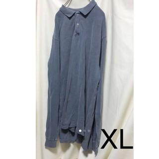 イームス(EMS)の667 アメリカ古着 長袖 ポロシャツ XL ブルー ビッグシルエット(ポロシャツ)