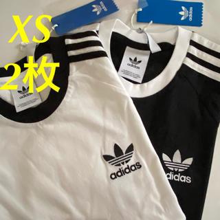 adidas - (メンズXS】白・黒 2枚 3ストライプ 半袖Tシャツ アディダスオリジナルス