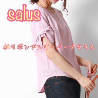 サルース(salus)のsalus 袖リボンプルオーバーブラウス ピンク サルース カットソー(シャツ/ブラウス(半袖/袖なし))