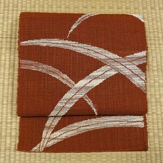 夏用 赤茶色の織りに草 開き名古屋帯(帯)