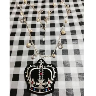 ジェーンマープル(JaneMarple)のJane Marple フェルト王冠ネックレス 黒(ネックレス)