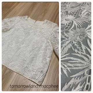 MACPHEE - トゥモローランド マカフィー レース ブラウス トップス 白 ホワイト 長袖