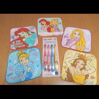 Disney - プリンセス タオル 5枚 歯ブラシ 4本セット ミニタオル  カラフル かわいい
